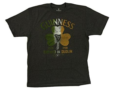 Guinness Brewed in Dublin Flag of Ireland Clover T-shirt Dark Grey (XL)
