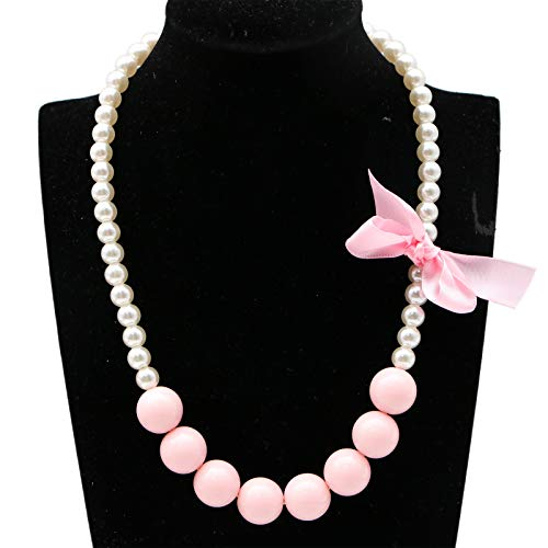 Set Lovely Pearl (WSSROGY Lovely Artificial Pearl Bowknot Necklace Bracelet Set Baby Kids Stretch Ring Jewelry Set Toddler Girls)