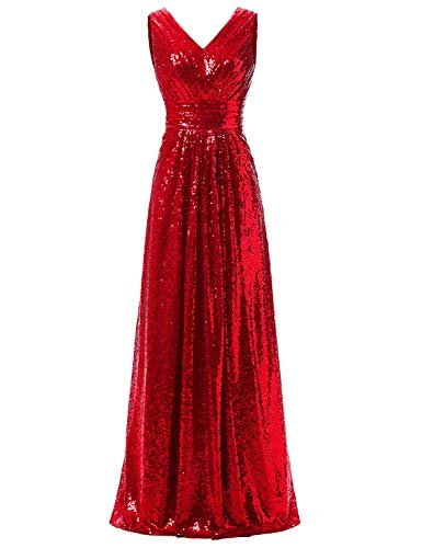 AnnaBride Women's Long V Neck Sequined Formal Prom Dresses Sleeveless Ruched Evening Celebrity Party Gowns Red 18W