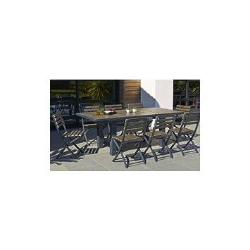 Table 160/220 cm avec rallonge papillon, plateau en bois composite + ...