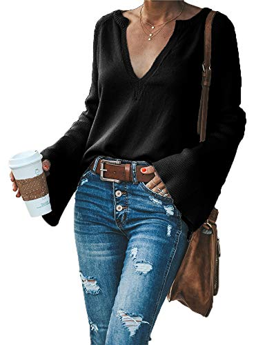 HZSONNE Women's Casual Crew Deep V Neck Kimono Bell Sleeve Loose Fit Solid Pullover Sweater Knitted Jumper Tops Knitwear