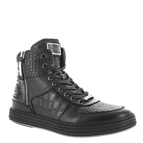 Vlado Footwear Select Mens Famous 2 Sneaker High Top In Pelle Pieno Fiore Nero Us 12