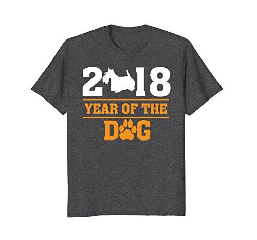 Mens Year of the Dog Scottish Terrier T-shirt Scottie Dog Lover Large Dark Heather (Scottie T-shirt Dog)