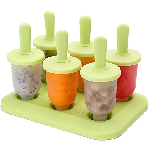 - CHICHIC Set of 6 Popsicle Molds Ice Pop Makers Ice Pop Molds Ice Bar Maker Plastic Popsicle Mold, Kids Ice Cream Tray Holder Lolly Pops, Kitchen Supply, BPA Free FDA Approved Popsicles, Small, Green