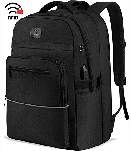WhiteFang 17.3 Inch Laptop Backpack,TSA Friendly Business Travel Laptop Backpack with USB Charging Port, RFID Water Resistant College School Backpack for Women & Men Fits 17.3 Inch Laptop-Black