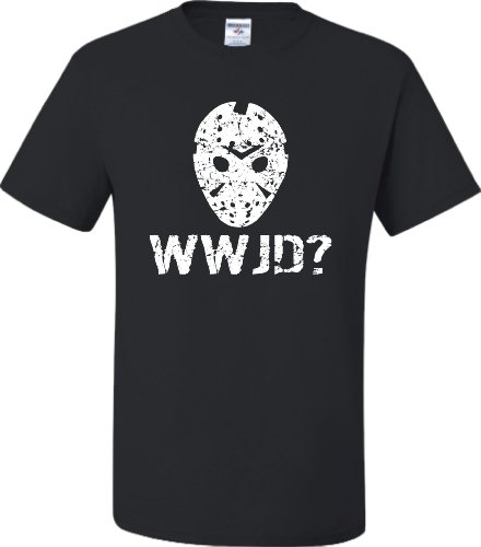 XXX-Large Black Adult WWJD What Would Jason Do? Funny Horror Movie T-Shirt (Jason Voorhees Clothes)