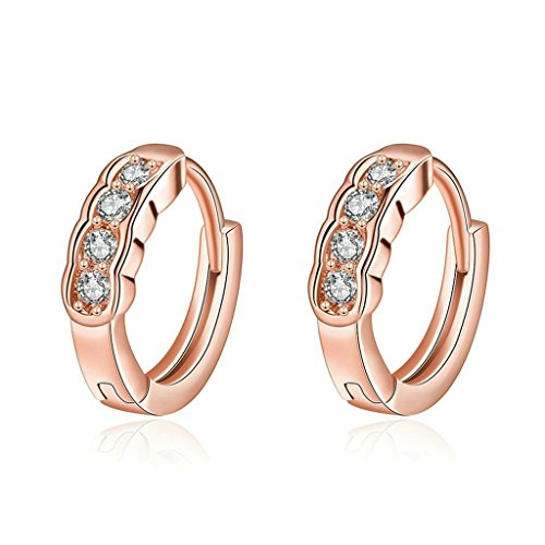 18k 22k Gold Stud Earrings (18K Gold Plated Earrings, Women's Stud Earrings Channel Setting CZ Rose Gold Fashion Jewelry Epinki)