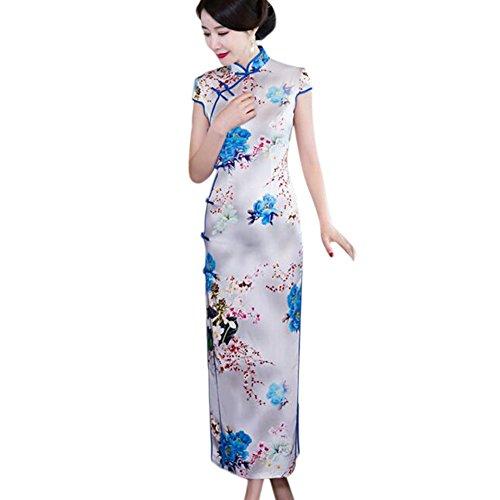 Haodasi Blumen Kleid Seide Elegant Qipao Traditionell Robe 06 Gedruckt Abendkleid Lange Slim Frauen Cheongsam Urrqt