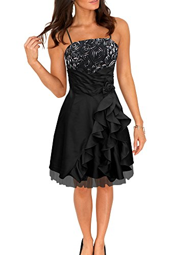 'April' Negro Vestido Satén Cascada BlackButterfly Bliss De FwqdY0wnxH