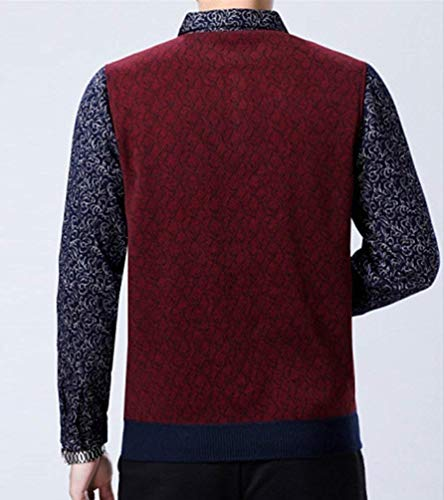 Haidean Winered 2 Chemise Stricktop Casual Moderne Tricoté Streetwear Hommes Hiver Avec Pull Col q6pOqaxU