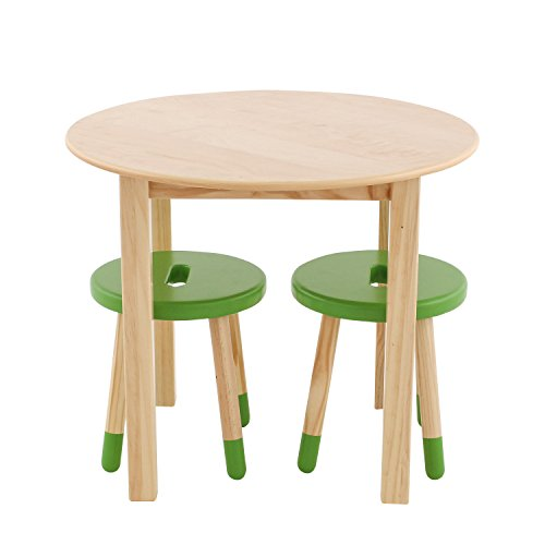 Max & Lily Natural Wood Kid and Toddler Round Table Set with 2 Green Stools