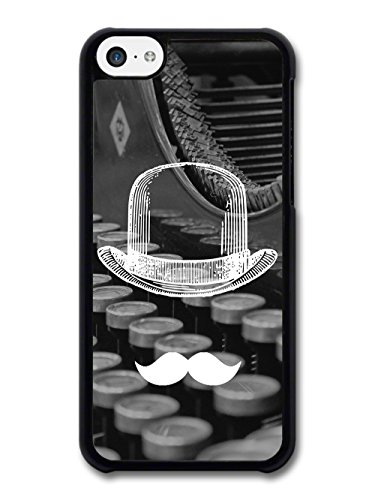 Cool Funny Cute Moustache Bowler Hat Typewriter case for iPhone 5C