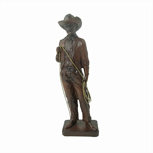 Western Cowboy Collection Standing Cowboy with Lasso Faux Wood Figurine