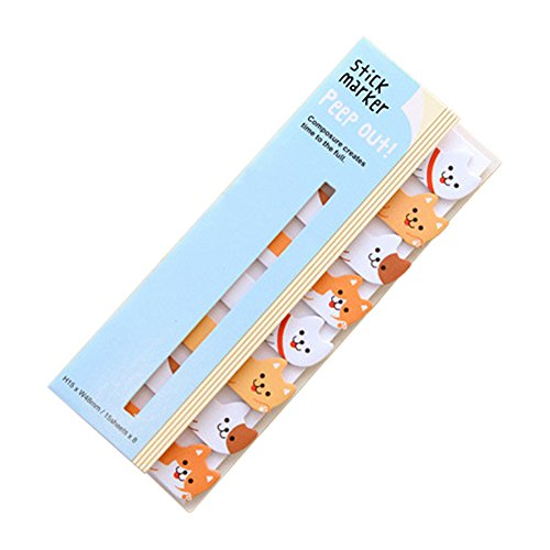 Swovo Bookmarks Lovely Animals Sticker Memo Flags Markers DIY Memo Pad Index Tab Sticky Notepapers (Dogs)