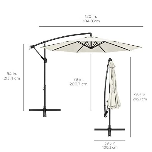 Garden and Outdoor Best Choice Products 10ft Solar LED Offset Hanging Market Patio Umbrella for Backyard, Poolside, Lawn and Garden w/Easy… patio umbrellas