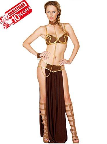 Slave Princess Leia Costume (Tankoo Women's Sexy Princess Leia Slave Costume Miss Manners Uniform XL)