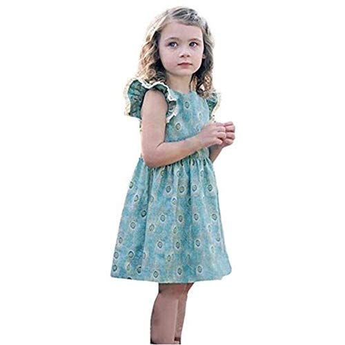 Tsyllyp Girls Summer Fluffy Sleeve Cotton Dress by Tsyllyp