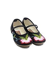 Tianrui Crown Children Girl's Embroidery Mary-Jane Shoes Kid's Cute Flat Cheongsam Shoe