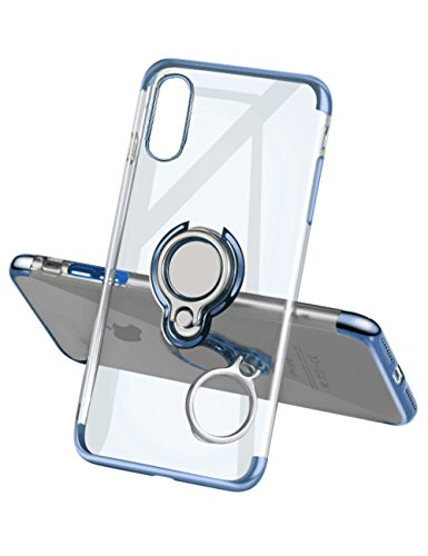 Yoopake iPhone XS Max Case Clear Slim Fit Ultra Thin Cover with Grip Ring Holder Stand (360° Rotatable) and Magnetic back for Car Mount, Protective Phone Case for iPhone XS Max (Newly Released) - Blu