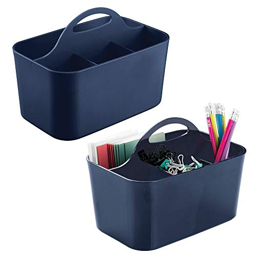 mDesign Small Office Storage Organizer Utility Tote Caddy Holder with Handle for Cabinets, Desks, Workspaces - Holds Desktop Office Supplies, Gel Pens, Pencils, Markers, Staplers - 2 Pack - Navy Blue