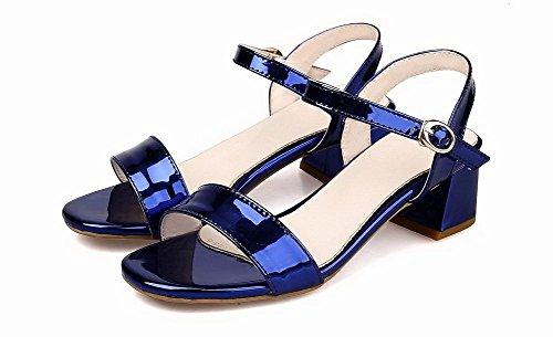 Talon Bleu Cuir Sandales Couleur PU Unie GMBLB013990 AgooLar Femme Boucle Correct à PYZ7R