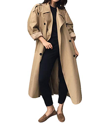 Women Classic Long Sleeve Double Breasted Belted Trenchcoat Camel S