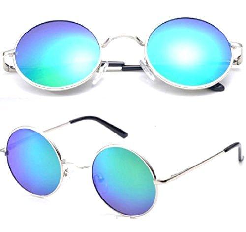 estilo los 60 de Montura Plata años hippie de Gafas Lentes sol Verdes de gqECwxf1
