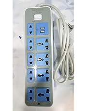 مشترك كهربائي طول 2 متر - 9 منافذ - 2 منفذ USB، تيار مستمر 5 فولت / 1 امبير - 2.1 امبير
