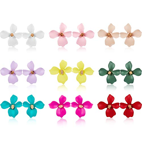 - 9 Pairs Flower Stud Earrings Set Bohemian Flower Earrings with Faux Flower Bud for Women Girls, 9 Colors