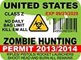 United States Zombie Hunting Permit Sticker Decal