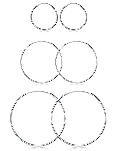 FUNRUN JEWELRY 3 Pairs Sterling Silver Hoop Earrings for Women Men Round Earrings Set 10-40MM (B: Platinum-Plated 3 Pairs: 20MM/30MM/40MM) by FUNRUN JEWELRY (Image #7)