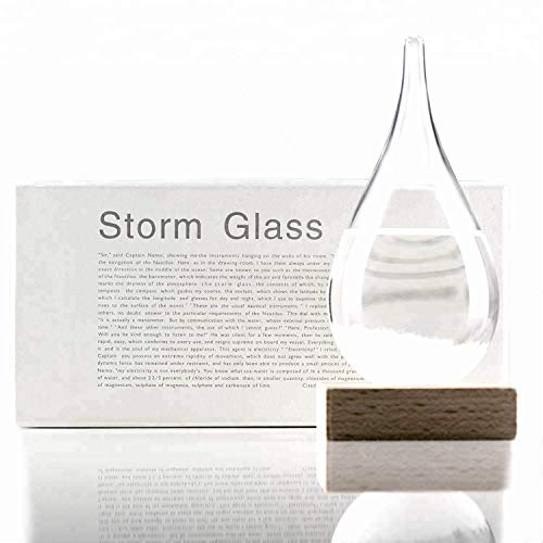 Unique Gadgets & Toys Storm Glass Weather Station Barometer with Wooden Base Scientific Decorative Gift - Small
