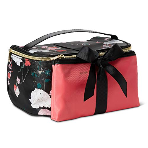 (Adrienne Vittadini Makeup Bag Set: Nylon Carry On Toiletry & Cosmetic Train Case with Zipper for Women - Tote Bags with Plenty of Storage for Overnight Travel or Weekender Trips - Black Floral)