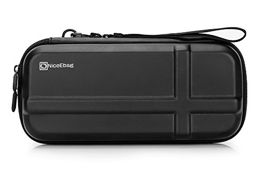 NiceEbag Best EVA Nintendo Switch Travel Case Console Protective Storage Bag Shockproof Switch Organizer Hard Carrying Pouch with 12 Build-In Game Card Holders,Black