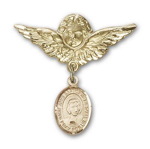 Icecarats Or Bijoux De Créateurs Rempli R. Jean-Baptiste De La Salle Charme Ange Broche De Badge 1 1/8 X 1 1/8