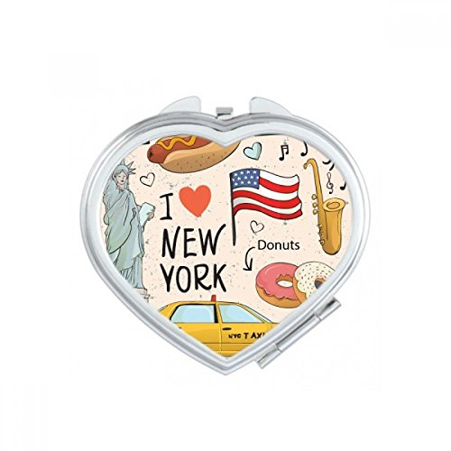 I Love New York Hot Dog Donuts America Texi Heart Compact Makeup Pocket Mirror Portable Cute Small Hand Mirrors Gift by DIYthinker