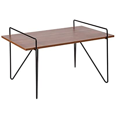 """Flash Furniture Porter Collection Cherry Wood Grain Finish Coffee Table with Black Metal Legs - Contemporary Style Cherry Wood Grain Laminate Finish .5"""" Thick Rectangle Top - living-room-furniture, living-room, coffee-tables - 41saqNkUGBL. SS400  -"""