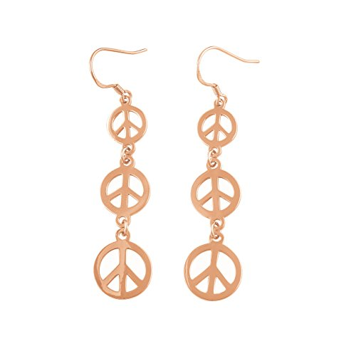 Rose Gold Tone Sterling Silver Dangling Peace Sign Earrings ()