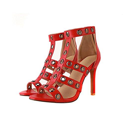 sandali sexy sandali Rosso i 40 zipper i signore tacchi alti super sandali IwTzHcq1