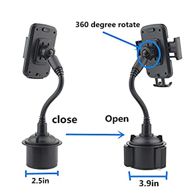 ihens5 Car Phone Mount,Car Cup Phone Holder,Universal Adjustable 360 Degree Rotatable Golf Cart Cell Phone Holder for iPhone X XS Max XR 8 Plus 7 6 SE,Galaxy Note 9 S10 Smartphones