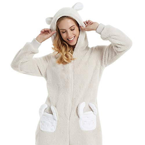 Women's Rabbit Ears Hooded one-Piece Fleece Onesie for Winter Autumn Animal Pajamas Cartoon Bathrobe Jumpsuit (Beige, ()