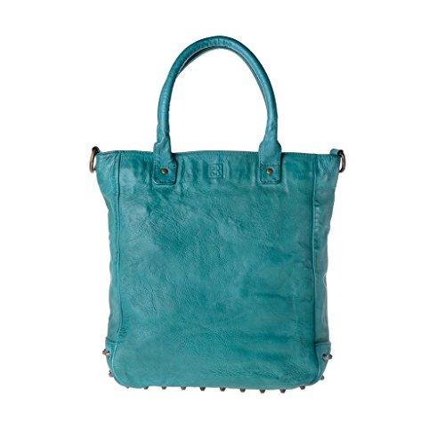 Borsa in pelle lavata tinta in capo con borchie e tracolla DUDU Malachite Green