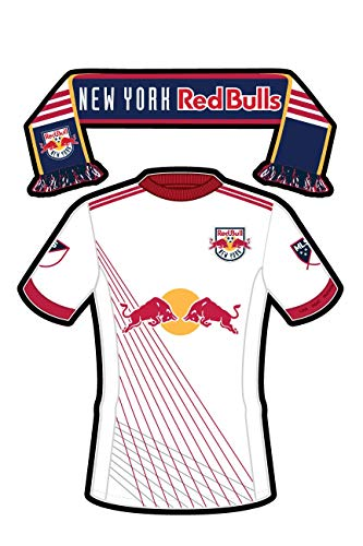 New York Red Bull FC Sticker of The Team Jersey and Scarf. Two Stickers in one. Sticks on Water Bottles, Bumpers, Laptops, All-Weather Vinyl & Waterproof. Major League Soccer (MLS)