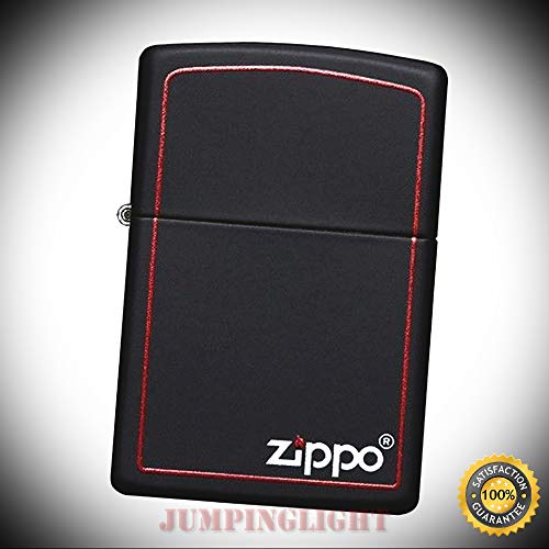 218ZB Logo and Red Border Windproof Matte Black Classic Lighter - Premium Lighter Fluid (Comes Unfilled) - Made in USA!