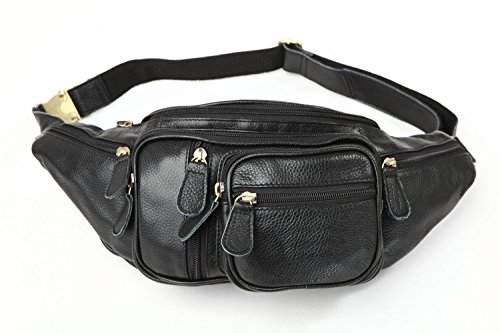Polare Men's Natural Leather Fanny Pack Waist Bag Black Large by Polare (Image #1)