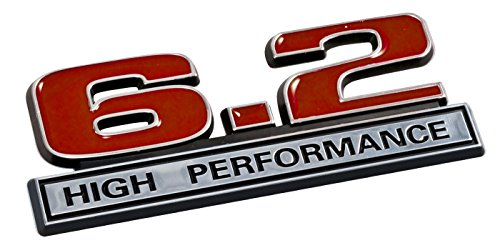 6.2 Liter High Performance Emblem in Red and Chrome