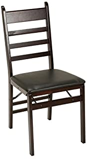 Cosco Espresso Wood Folding Chair with Vinyl seat & Ladder Back (2-Pack) (B00DQC8VNM)   Amazon Products