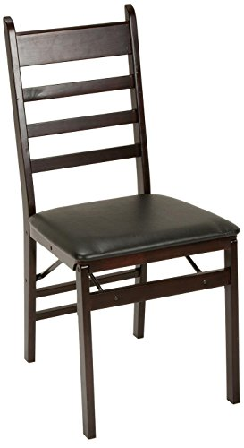 Cosco 2-Pack Wood Folding Chair with Vinyl Seat and Ladder Back, Espresso Espresso Vinyl Seat
