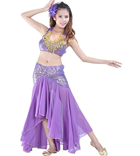 YiJee Professional Belly Dance Costume Fringe Bra And Skirt 2 Pieces Sets Dark Purple ()