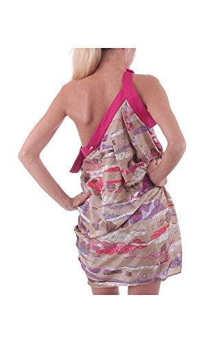 Mehrfarbig Ballonkleid Gianfranco Kleid pink beige Seide Ferré Damen SxBxqHR0